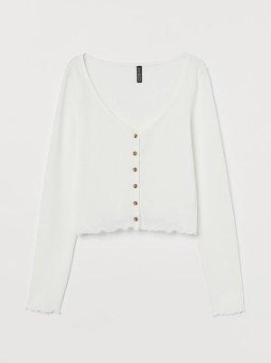 H&M Chaqueta de punto cruzada blanco