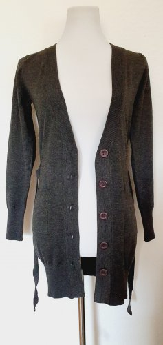 Cardigan mit Gürtel dunkel grau Gr 36 Langarm Strickjacke