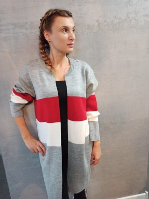 0039 Italy Pull long gris clair-rouge