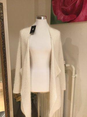 Gilet long tricoté blanc cassé