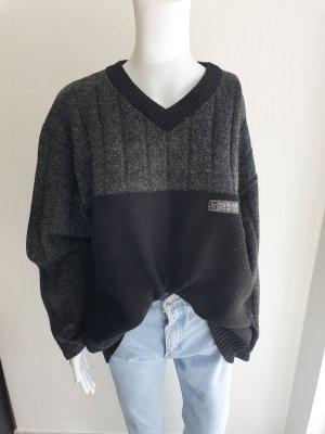 Vintage Sweter oversize czarny-szary