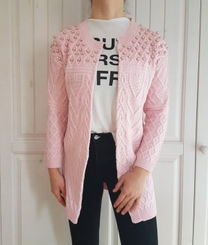 Cardigan rosa pastelrosa pastel perlen Strickjacke jacke Strick pulli pullover tshirt hemd bluse