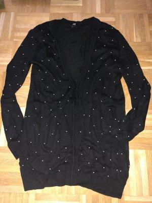 Cardigan, schwarz mit Perlen, H&M, Gr. M