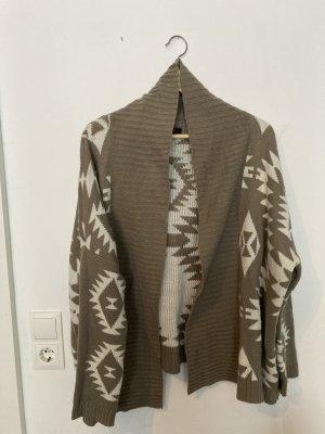 Amisu Cardigan in maglia marrone chiaro-bianco