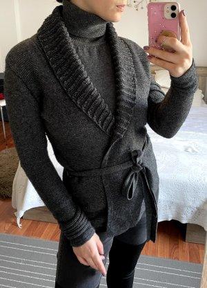 Armani Exchange Knitted Wrap Cardigan dark grey-anthracite wool