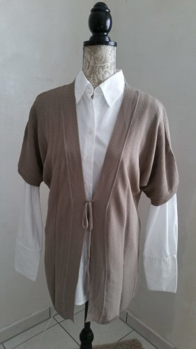 Via Milano Short Sleeve Knitted Jacket light brown