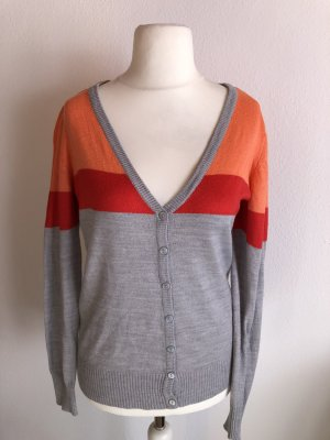 Cardigan Strickjacke grau bunt Basic