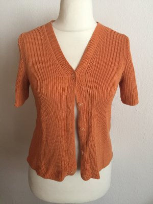 Cardigan Strickjacke Kurzarm senffarben orange Gr. S