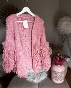 Cardigan Strickjacke rosa pink blogger hipster boho Volants Rüschen