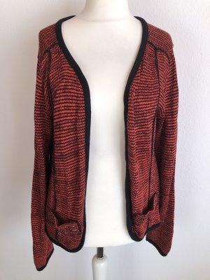 Cardigan Strickjacke warm locker rot schwarz Gr. 44/46