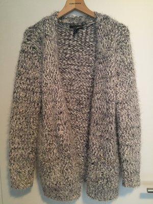 Cardigan Strickjacke weiß grau warm 40