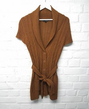 Tally Weijl Short Sleeve Knitted Jacket brown-cognac-coloured polyacrylic