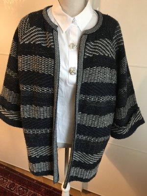 Mango Suit Pull kimono argenté-bleu foncé