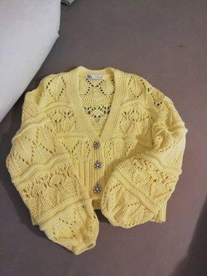 Zara Cardigan in maglia giallo pallido