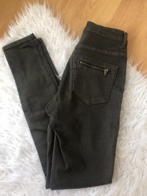 H&M Pantalon cargo vert foncé-gris vert