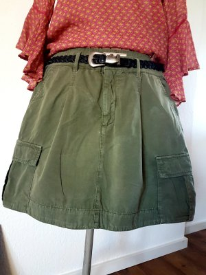 Cargo Skirt green grey cotton