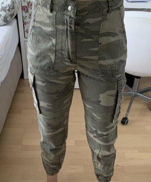 Primark Pantalon cargo gris vert-kaki
