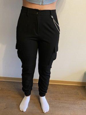 Bershka Pantalone cargo nero-argento