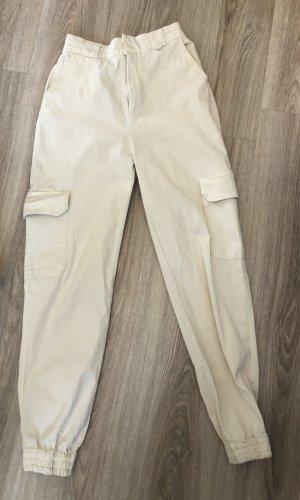 Cargohose Beige-Weiß