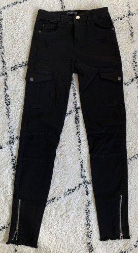 Bershka Pantalón de camuflaje negro