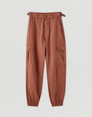Pull & Bear Cargo Pants dark red cotton