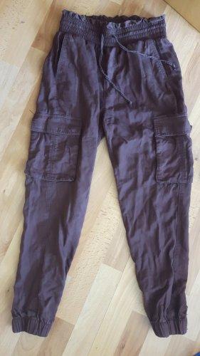 Abercrombie & Fitch Pantalon cargo brun rouge lyocell