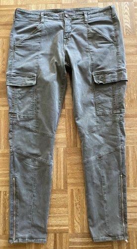 JBRAND Jeans de moto gris vert coton