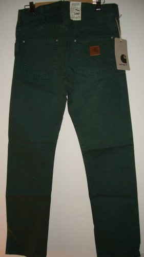 Carhartt Drainpipe Trousers forest green cotton