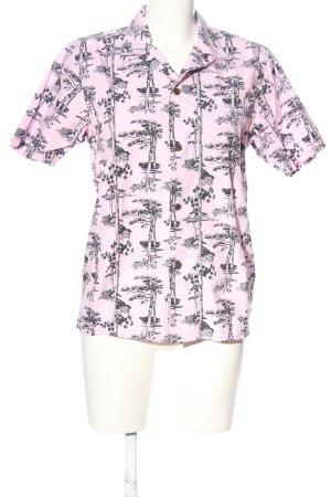 Carhartt Camicia a maniche corte rosa-nero stampa integrale stile casual