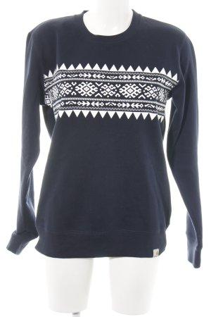 Carhartt Sweatshirt blanc-bleu motif graphique style décontracté