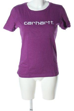 Carhartt T-Shirt lila-weiß Schriftzug gedruckt Casual-Look