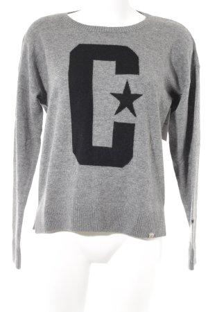 Carhartt Wollpullover grau-schwarz Motivdruck Casual-Look