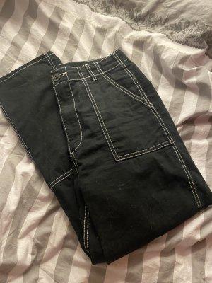 H&M Workowate jeansy czarny-biały
