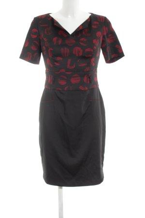 Carla Bleistiftkleid schwarz-rot abstraktes Muster Casual-Look