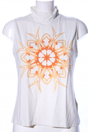 Carlo Colucci Neckholder Top white-light orange themed print casual look