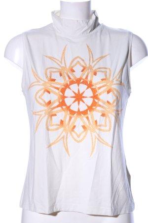 Carlo Colucci Top con colletto arrotolato bianco-arancione chiaro Stampa a tema