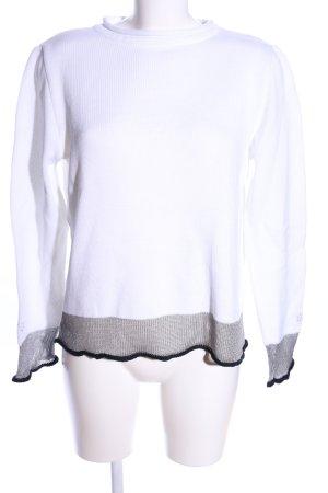 Carlo Colucci Maglione lavorato a maglia bianco-grigio chiaro motivo a righe