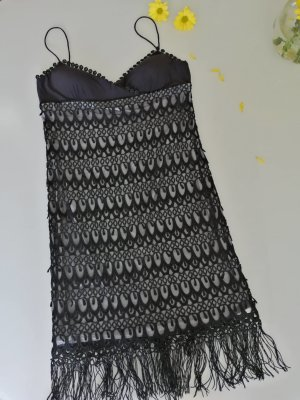 CARLO PIGNATELLI Vestido con flecos negro-azul oscuro Poliéster