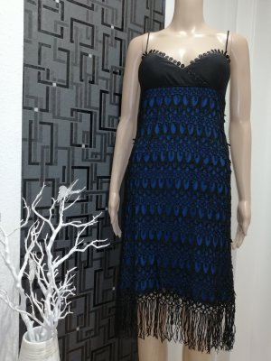 Fringed Dress black-dark blue polyester