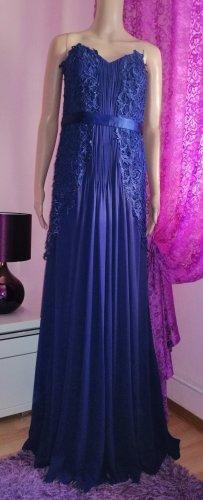 Carlo Pignatelli Italy Luxus Kleid in edel blau Gr. 38 40(D)