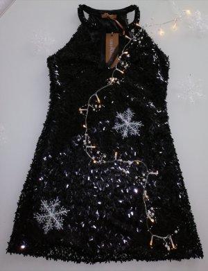 Carlo Pignatelli Italy Luxus Pailletten Kleid schwarz Gr. S /36