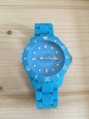 Orologio analogico blu neon