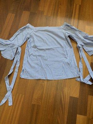 H&M Bluzka typu carmen biały-błękitny