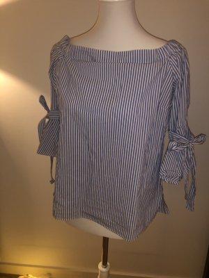H&M Carmen Blouse white-cornflower blue