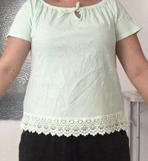 Janina Carmen blouse lichtgroen Katoen