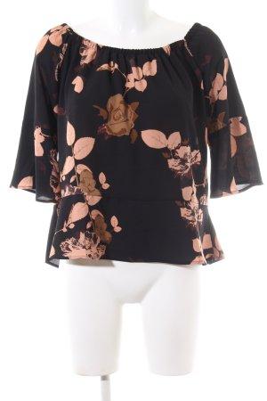 Blouse Carmen noir-brun motif de fleur style décontracté
