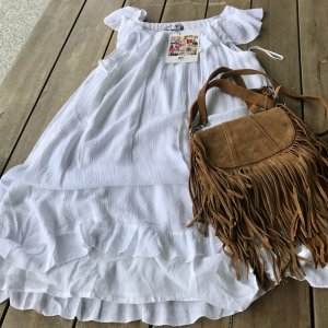 AJC Off-The-Shoulder Dress white cotton
