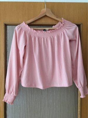 H&M Camisa tipo Carmen rosa