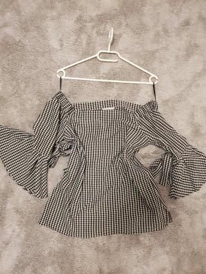 H&M Top épaules dénudées blanc-noir