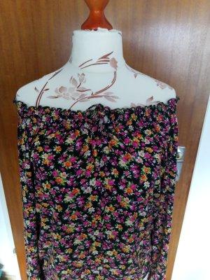 Carmen-Shirt, schwarz/Blumen